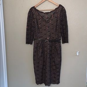 Alex Evenings Lace Sequined Brown Cocktail Dress